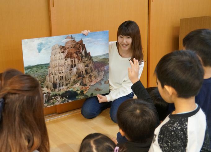 大成ゼミ 保育園、中学校で美術鑑賞活動
